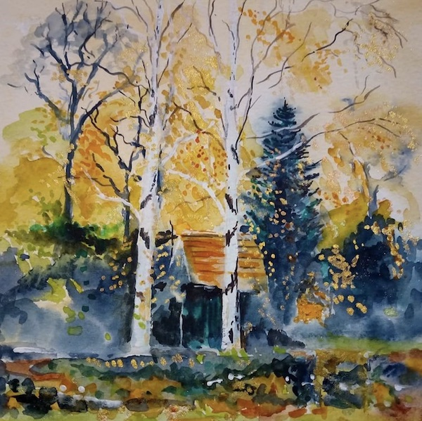 colourful trees painting
