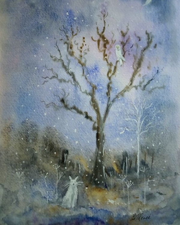 wintery tree painting